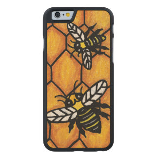 Cute Buzzing Yellow Jacket Bee Honeycomb Carved® Maple iPhone 6 Case