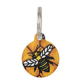 Cute Buzzing Yellow Jacket Bee Honeycomb Pet Name Tag