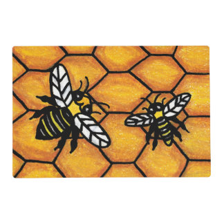Cute Buzzing Yellow Jacket Bee Honeycomb Placemat