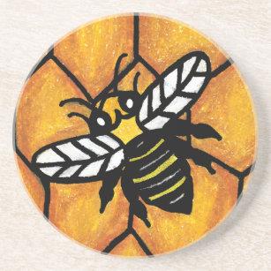 Cute Buzzing Yellow Jacket Bee on Honeycomb Drink Coaster