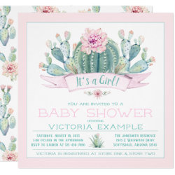 Cute Cactus Baby Shower Invitations