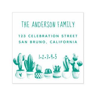 Cute Cactus | Custom Family Name & Return Address Self-inking Stamp