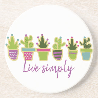 Cute cactus design with custom background color sandstone coaster
