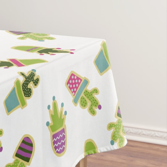 cute cactus design with custom background color tablecloth zazzle com