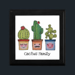 "Cute Cactus Family In Watercolor Gift Box<br><div class=""desc"">Cute watercolor cactus family in pots with faces. Designed for cactus,  plants and succulents lovers. Can be a lovely gift. Customize it with different background color,  words,  names or just enjoy as it is. Please check the collection for matching items. :)</div>"