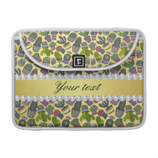 Cute Cactus Faux Gold Foil Bling Diamonds Sleeve For MacBook Pro