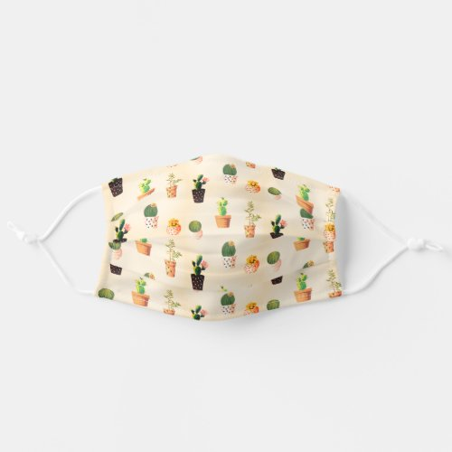 Cute Cactus Pattern Modern Trendy Girly Unique Cloth Face Mask