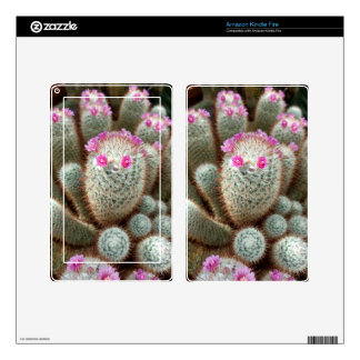Cute Cactus w/ Pink Flower Face and Cacti Friends Kindle Fire Skin