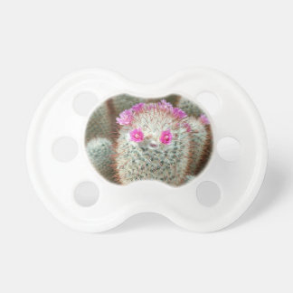 Cute Cactus w/ Pink Flower Face and Cacti Friends Pacifier