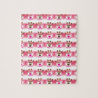 Cute cafe coffee coffees in pink pattern jigsaw puzzle