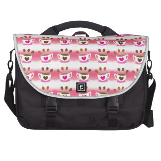 Cute cafe coffee coffees in pink pattern commuter bags