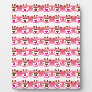 Cute cafe coffee coffees in pink pattern plaque