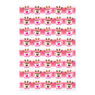 Cute cafe coffee coffees in pink pattern stationery