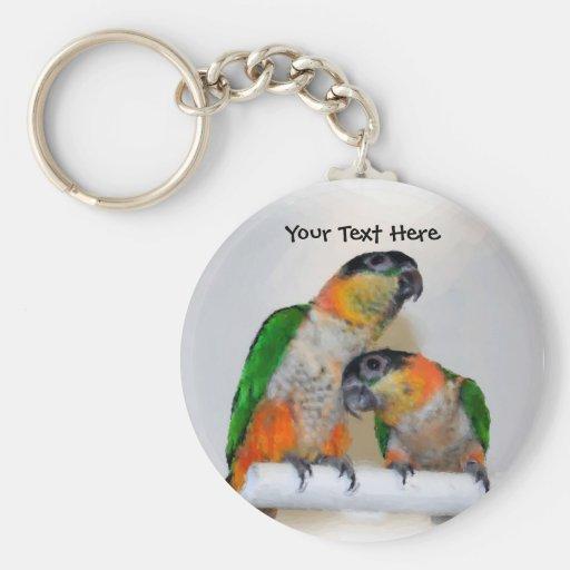 Cute Caique Parrot Pair Animal Keychain