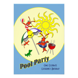 Cute Cajun Crawfish Pool Party Announcements