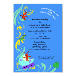 Cute Cajun Critters It's a Boy Baby Shower 5x7 Paper Invitation Card