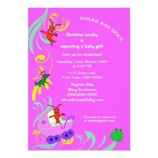 Cute Cajun Critters It's a Girl Baby Shower 5x7 Paper Invitation Card