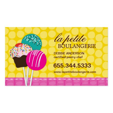 Cute Yellow and Pink Colorful Cake Pop Certified Pastry Chef Boulangerie Bakery Business Cards
