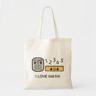 Cute Calculator And Ruler I Love Math Budget Tote Bag
