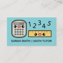 Cute Calculator And Ruler Math Tutor Business Card