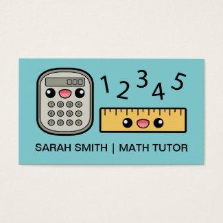 Cute Calculator And Ruler Math Tutor Business Card