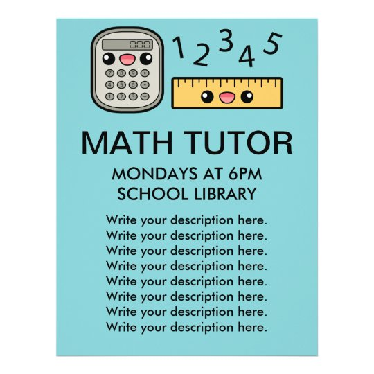 Cute Calculator And Ruler Math Tutor Template Flyer  Zazzle