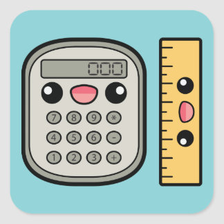 Cute Calculator And Ruler Square Sticker