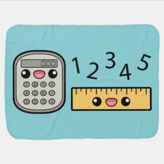 Cute Calculator And Ruler With Numbers Swaddle Blanket