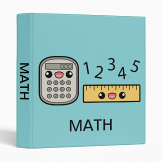 Cute Calculator And Ruler With Text Math 3 Ring Binder