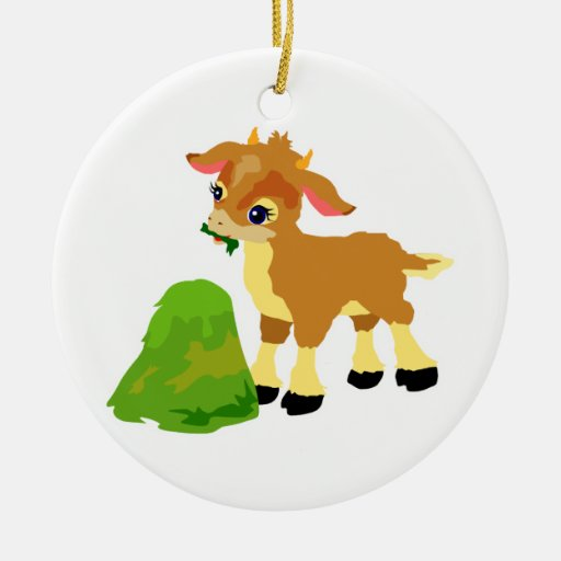 cute calf eating grass Double-Sided ceramic round christmas ornament