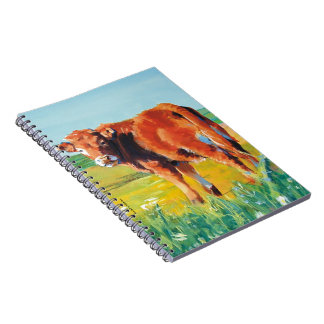 Cute Calf on a sunny day painting Note Books