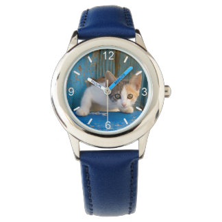 Cute Calico Cat Kitten Funny Eyes Photo dial-plate Wristwatch
