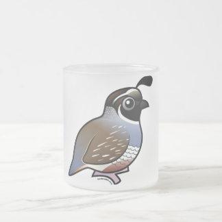 Cute California Quail Frosted Glass Coffee Mug