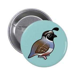 Cute California Quail Pinback Button