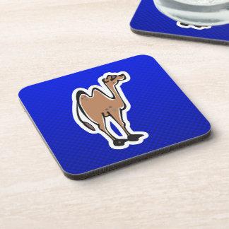 Cute Camel; Blue Beverage Coaster