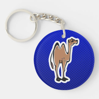 Cute Camel; Blue Double-Sided Round Acrylic Keychain