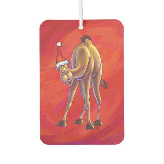 Cute Camel Christmas On Red Car Air Freshener