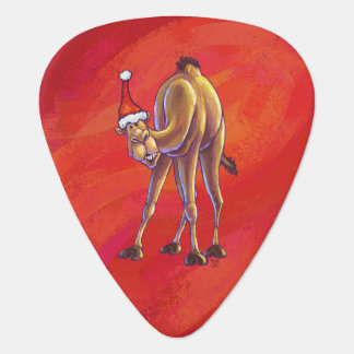Cute Camel Christmas On Red Guitar Pick