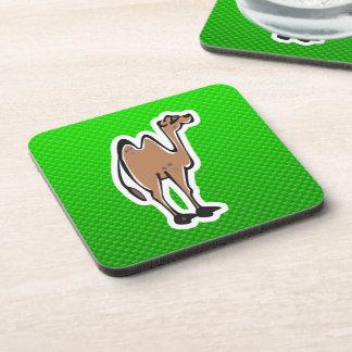 Cute Camel; Green Beverage Coaster