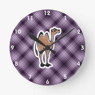 Cute Camel; Purple Round Clock