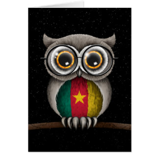 Cute Cameroon Flag Owl Wearing Glasses Card