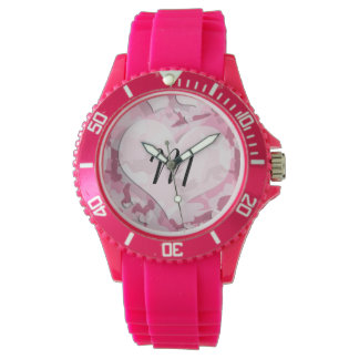 Cute Camo and Hearts Personalized Monogram Watches