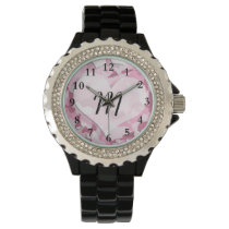 Cute Camo and Hearts Personalized Monogram Wristwatch