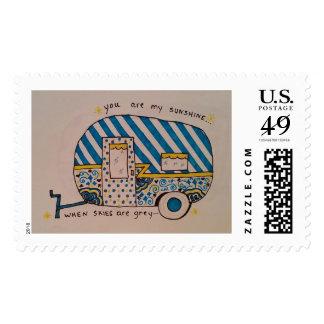 Cute camper design blue stripes postage
