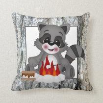 Cute Camping Raccoon fun throw pillow