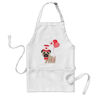 Cute Canada Day Pug with Balloons Adult Apron