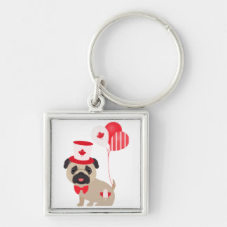 Cute Canada Day Pug with Balloons Keychain