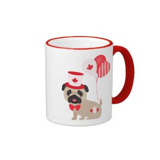 Cute Canada Day Pug with Balloons Ringer Mug