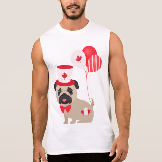 Cute Canada Day Pug with Balloons Sleeveless T-shirts