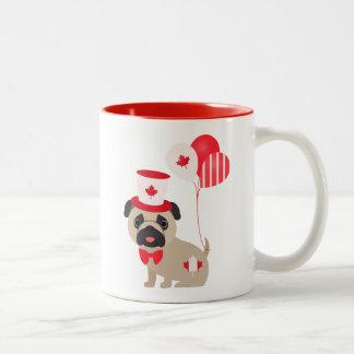Cute Canada Day Pug with Balloons Two-Tone Coffee Mug